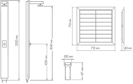 Doccia solare legno pregiato e acciaioserbatoio 30 litri - Altezza soffione doccia ...