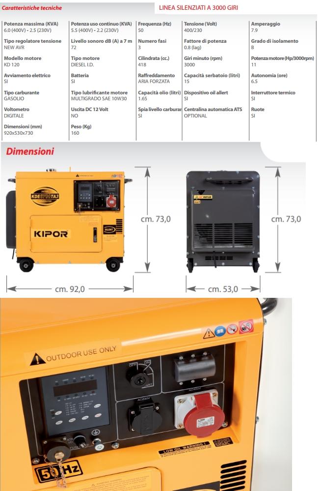 Generatore kde 6700 ta3 4 kw kipor silenziato disel for Gruppo elettrogeno 3 kw avviamento automatico